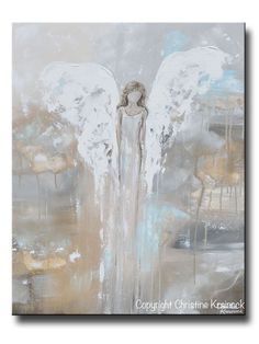 SPECIAL RELEASE GICLEE PRINT Abstract Angel Painting Guardian Angel Spiritual Gift Blue Gold Home Decor Wall Art Joyful Heart Foundation #artpainting