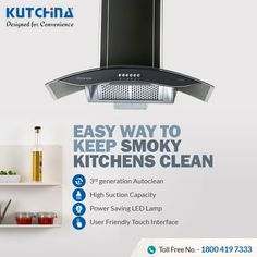 With high suction filterless feature, #Kutchina chimneys come with unique one-touch dry auto clean technology. Know more: http://bit.ly/2OFC4R5 #DesignedForConvenience #HeartOfAHome