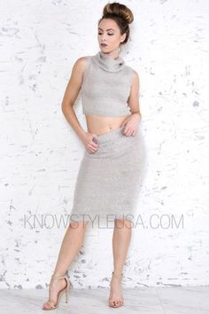 Crop Top with Turtle Necklne Matching Midi Skirt Soft Fuzzy Knit Material 70% Acrylic 30% Nylon Dry Clean Recommended   - Model is wearing a size SMALL- Model body ...