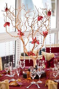 Awesome centerpiece!! Manzanita Tree with Flowers and Crystals!
