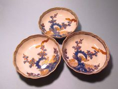 """Vintage Handpainted Aoki-Sei Chinese 6"""" Bowls Set of 3 Asian Glassware/Pottery"""