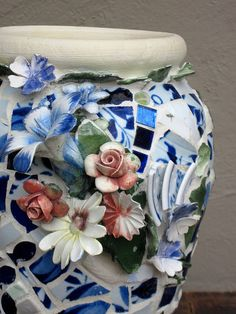 close-up ... Blue and white mosaic jar vase by Rush Creek, via Flickr