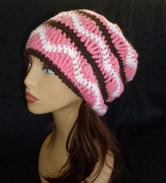 Slouch Hat, Slouchy, Slouch Beanie, Fall Fashion, Crochet Beanie, Crochet Slouch Hat - Pink, Brown and White
