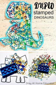 Duplo stamped dinosaur art the kids will love - Fun process art activity for preschool to go along with your dinosaur preschool theme. Could easily be turned into a counting activity with a set of dice. Daycare Crafts, Toddler Crafts, Preschool Crafts, Toddler Activities, Dinosaur Crafts For Preschoolers, Dinosaurs For Toddlers, Art For Preschoolers, Summer Art Activities, Preschool Ideas