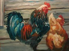 Rooster n hen in oil on Yuppo. Impressionist, Rooster, Street Art, Study, Birds, Oil, Colour, Artist, Animals