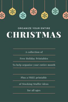 Organize your Entire Christmas with this collection of Free Printables! Plus, a free printable stocking stuffer list!
