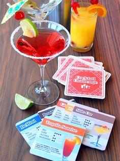 Set de 30 dessous de verre cartonnés illustrés avec 30 recettes de cocktail. NB: Toutes les recettes sont en anglais et les mesures en ml. Design: Suck UK.