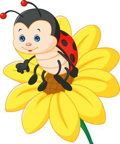 Cartoon ladybug on the sun flower Illustration , Cartoon Cartoon, Ladybug Cartoon, Ladybug Art, Ladybug Crafts, Bee Pictures, Beautiful Gif, Baby Art, Cute Images, Cute Gif