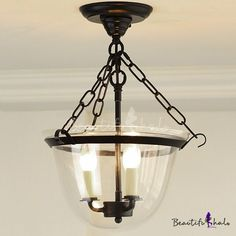 3 Light LED Semi Flush Mount with Clear Glass, Fashion Style Industrial Lighting Foyer Lighting, Rustic Lighting, Industrial Lighting, Lantern Candle Holders, Candle Lanterns, Light Led, Night Light, Flush Mount Ceiling, Incandescent Bulbs