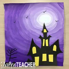 I saw this fabulous art project in my friend's classroom the other day. She had taken this idea from our other friend's classroom! house art, Halloween Art Project and Writing Piece Halloween Kunst, Halloween Art Projects, Halloween Arts And Crafts, Fall Art Projects, Halloween Painting, Theme Halloween, School Art Projects, Art School, Halloween Decorations