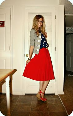 blue polka dots with red skirt and military cardi!