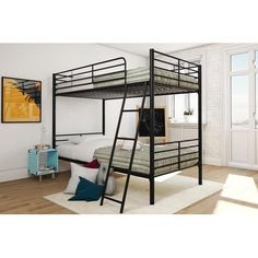 Mainstays Twin over Twin Convertible Bunk Bed, Multiple Colors, Black Twin Canopy Bed, Twin Bunk Beds, Kids Bunk Beds, Twin Twin, Metal Bunk Beds, Modern Bunk Beds, Convertible Bunk Beds, Carriage Bed, Queen Bunk Beds