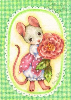 Gingham Rose ACEO Original mouse Art 2.5x3.5""