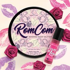 Light and flirty couples up with dark and sultry for the perfect Valentine's Day pairing. RomCom Whipped Body Butter with hydrating plum oil and softening shea butter is so light and sweet it soothes dry skin without any drama, and you'll instantly fall in love with its delightfully flirty plum and raspberry scent. hurry—quantities are limited and this bundle is only available while supplies last. Order yours today!