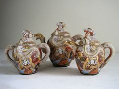 Vintage Japanese Satsuma Dragonware Tea Set