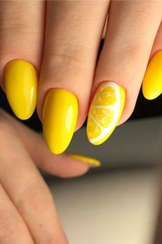 Lime Nails, Yellow Nail Art, Nail Art Designs Videos, Cute Nail Art Designs, Chic Nails, Stylish Nails, Sun Nails, Fruit Nail Designs, Fruit Nail Art