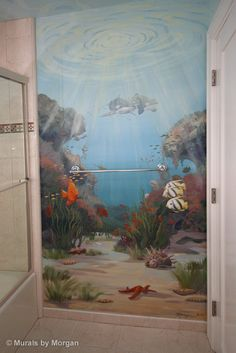 Wandbild tropical fish bathroom www. Sea Murals, Ocean Mural, Ceiling Murals, Wall Murals, Wall Art, Mural Painting, Large Painting, Mural Art, Octopus Painting