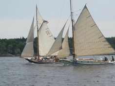 The Friendship Sloop Southwest Harbor Rendezvous is on for this Saturday, July 14. HERITAGE (sail number 50, built 1962, Peterson/Collemer) and FLYING JIB (1936, Winfield Scott Carter) are shown here racing in Rockland, Maine, a few years back. Thanks to Sara Beck/Friendship Sloop Society for the photo. fss.org. On www.woodenboat.com