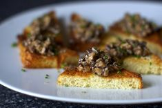 creamed mushrooms on chive butter toasts by smitten
