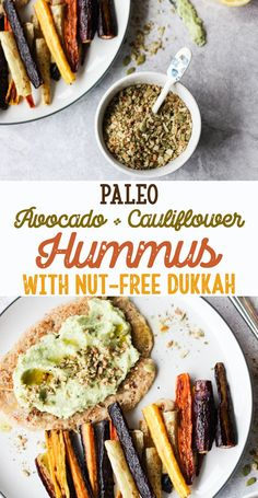 paleo avocado and cauliflower hummus with nut-free dukkah - vegan, legume free, gluten free, grain free, dairy free, soy free, egg free [low allergen and anti-inflammatory recipes from rally pure]