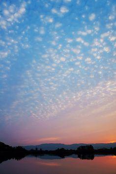 mackerel sky (cirrocumulus) in Yakushiji, Nara, Japan: by Eiji Murakami