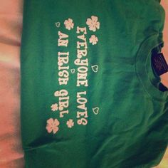 "Kelly Green ""everyone loves an Irish girl"" LS tee Purchased from Steve & Barry's when they were in business when I was in college. Size M crew neck and sleeve ""everyone loves an Irish girl"" written in green script. This has been sitting in my drawer for 7 years! 7! A bit faded from washing but I only wore this sporadically. Steve & Barrys Tops Tees - Long Sleeve"