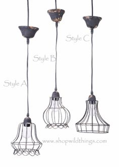 """Metal Wire Pendant Hanging Lamp """"Style B"""""""