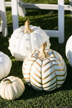 Fall wedding decor - white pumpkins + gold paint details {Ever Love Photography}