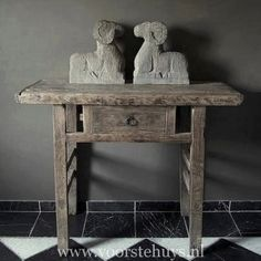 Handcarved Stone Statue & Antique Sidetable