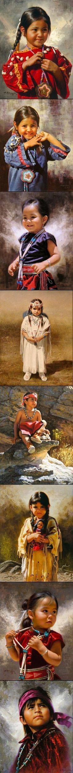 """The beautiful eyes of the Native American children in the oil paintings of Alfredo Rodriguez (1954, American Painter) § """"Alfredo Rodriguez (1954, American)"""" by Marco from I am a Child ~ children in art history (http://iamachild.wordpress.com). Blog posted on May 24, 2011. § Collage created via http://pinthemall.net:"""