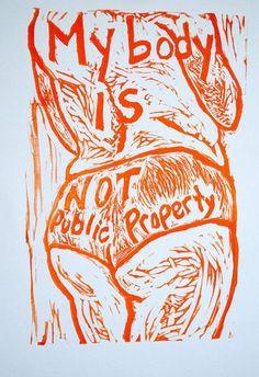 Items similar to My Body Is Not Public Property: Glittery Feminist Sticker on Etsy