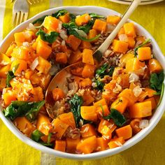 Butternut Squash with Whole Grains Recipe -Fresh thyme really shines in this hearty slow-cooked side dish featuring tender butternut squash, nutritious whole grain pilaf and vitamin-packed baby spinach. —Taste of Home Test Kitchen