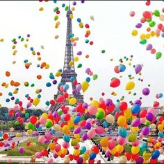 Rainbow balloons in Paris
