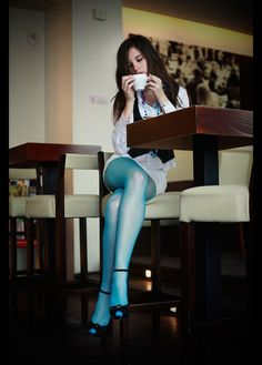 blue tights girl