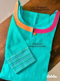 Best 12 I like the cording detail along the neckline and sleeve hem. Churidhar Neck Designs, Kurtha Designs, Neck Designs For Suits, Neckline Designs, Dress Neck Designs, Sleeve Designs, Blouse Designs, Salwar Neck Patterns, Salwar Pattern