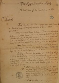 Petition from Countess Dowager of Hume to King George I for the pardon of her younger son, 1716. Jacobite Rebellion in Preston, Lancashire. argues that he is not responsible for his own actions and has limited understanding.1716. The National Archives reference: SP 35/7/34.
