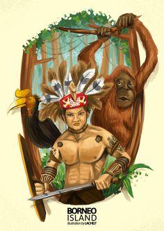 The Borneo Island Creative Poster Design, Creative Posters, Character Design Animation, Character Art, Indonesian Art, Geniale Tattoos, Borneo, Graphic Design Inspiration, Doodle Art