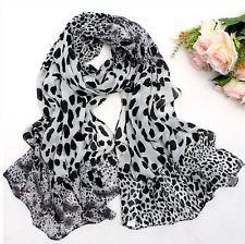 Fashion lady Wrap Chiffon white leopard print scarf Long style shawl scarves