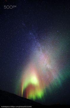 Auora and Milky way - stock photo
