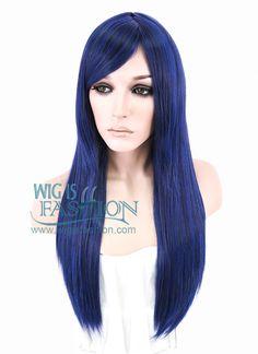 "24"" Long Straight Dark Blue Fashion Synthetic Hair Wig PL018 - Wig Is Fashion"