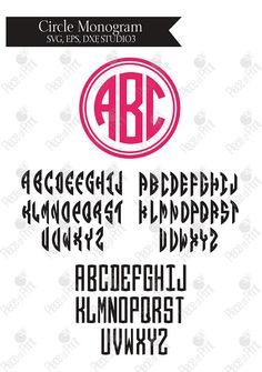 Circle Monogram font svg dxf eps png files instant by pieceofprint