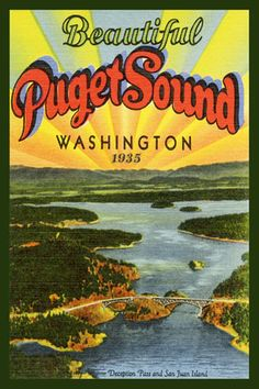 Puget Sound 1935. Quilt Block printed on cotton. Ready to sew.  Single 4x6 block $4.95. Set of 4 - 4x6 quilt blocks with wall hanging pattern $17.95.