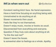 This is more like an INFJ in the Grip, Ni-Ti loop. Listening to and reading books energises and reconnects me, for example. Infj Traits, Infj Mbti, Intj And Infj, Infj Type, Enfj, Myers Briggs Personality Types, Infj Personality, Personality Psychology, Personalidad Infj