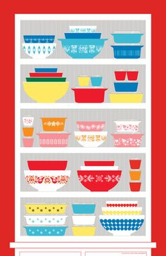 """The Collector""                                                        Vintage Pyrex Poster                                                     Pre-Sale"