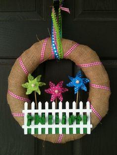 Spring/Summer Pinwheel Wreath by PolkadotsOriginals on Etsy,