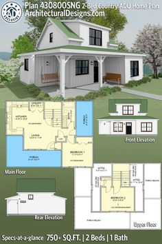 Tiny Houses Plans With Loft, Small Cottage House Plans, Ranch House Plans, Craftsman House Plans, Cottage Homes, Country House Plans, New House Plans, Modern House Plans, One Bedroom House Plans