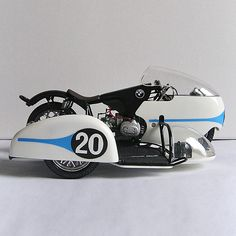 A model of the Max Deubel Horner BMW sidecar from the collection of seeleynorton.