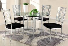 Veronica Modern Glass Metal Round Dining Table