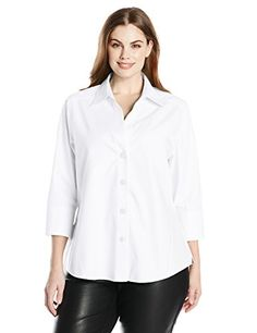 Foxcroft Womens PlusSize Paige Essential Non Iron Blouse White 16 -- Details can be found by clicking on the image-affiliate link.