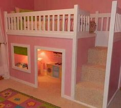Like stairs and railing, would open up the play part for another bed underneath.